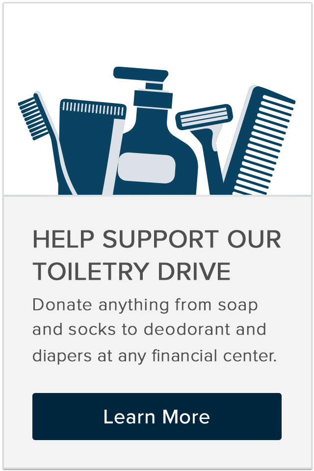 Help support our toiletry drive.
